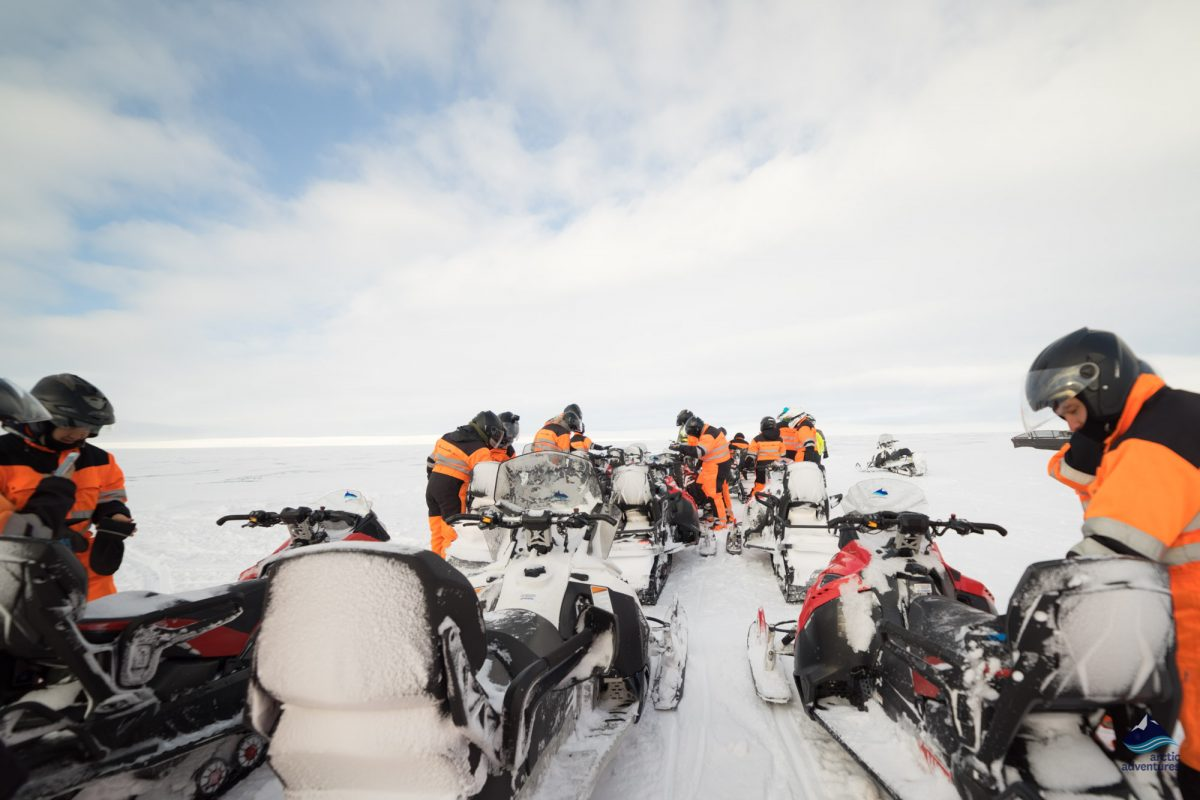 Glacier snowmobiling on langjokull glacier iceland tour