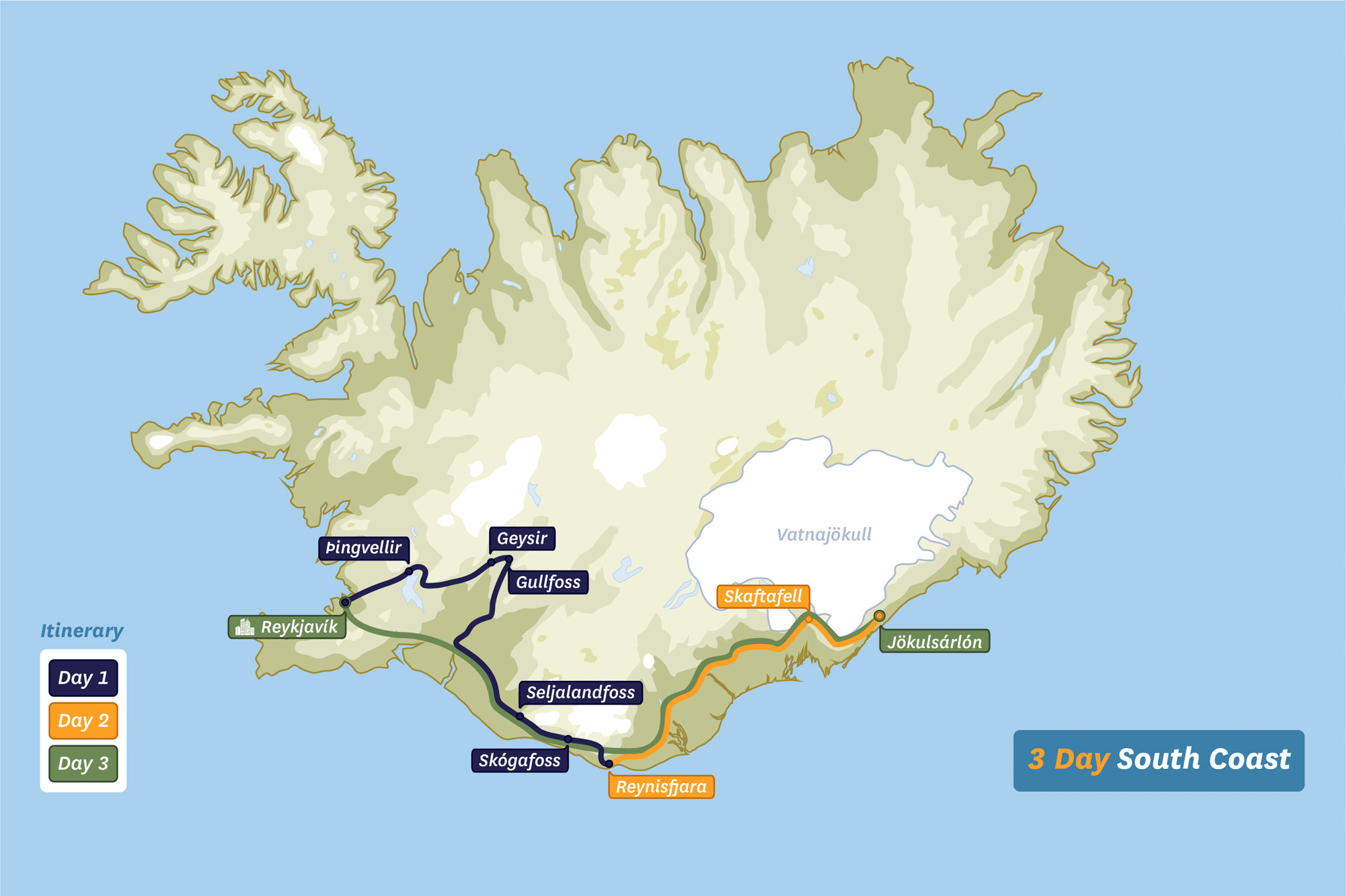 Map of Iceland - 3 Day South Coast